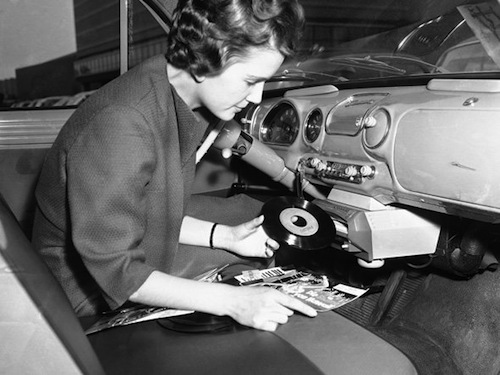 amazing photos of a time when cars had vinyl record players the