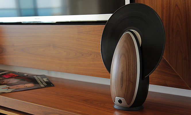 This new vertical record player will play your vinyl with a remote control