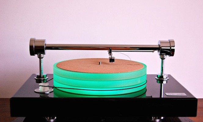 This new 60kg turntable has a parallel tracking arm and LED lit platter