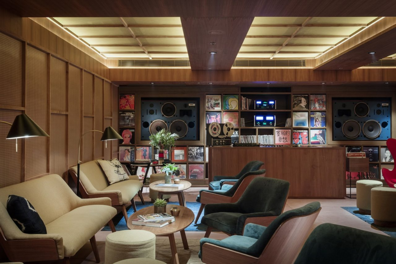 A beautiful audiophile listening space and vinyl library has
