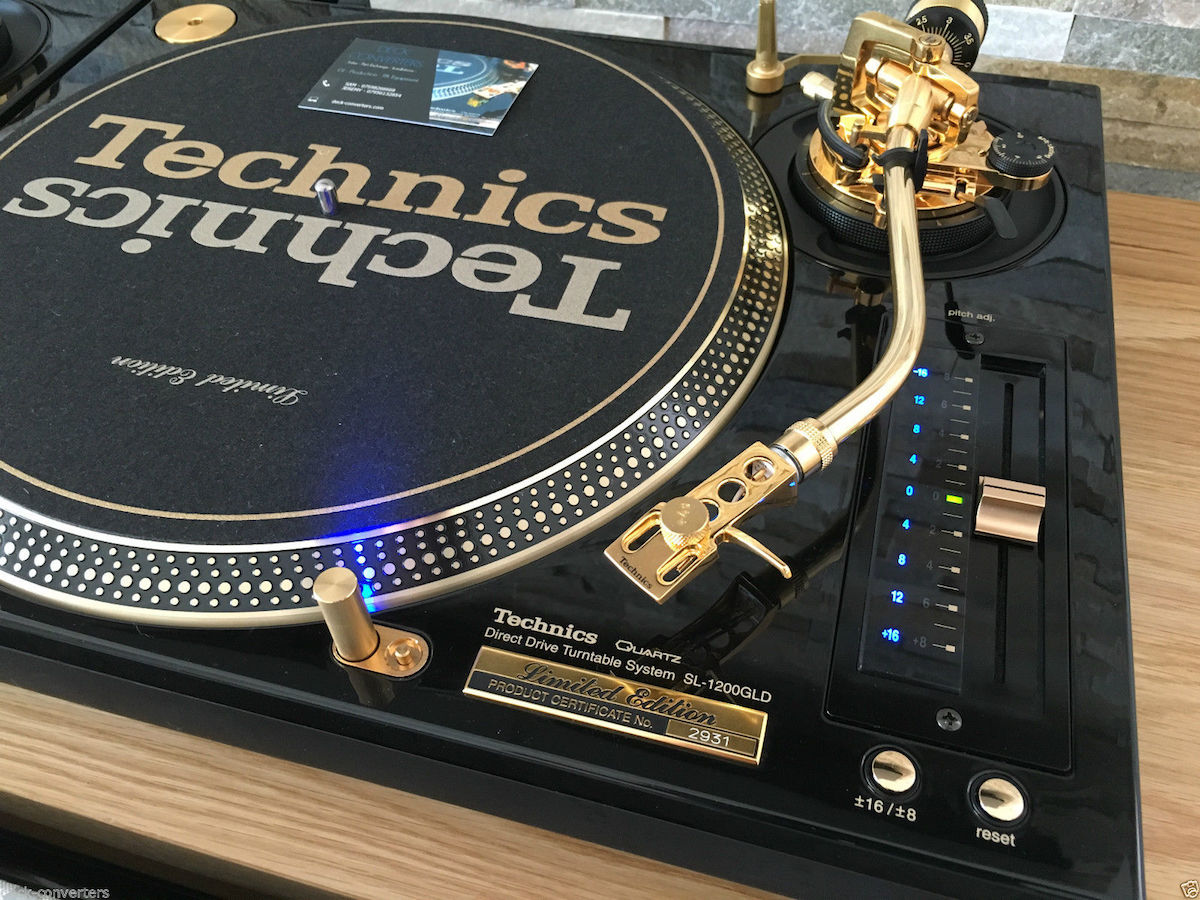 A rare set of gold Technics SL-1200 turntables are up for sale