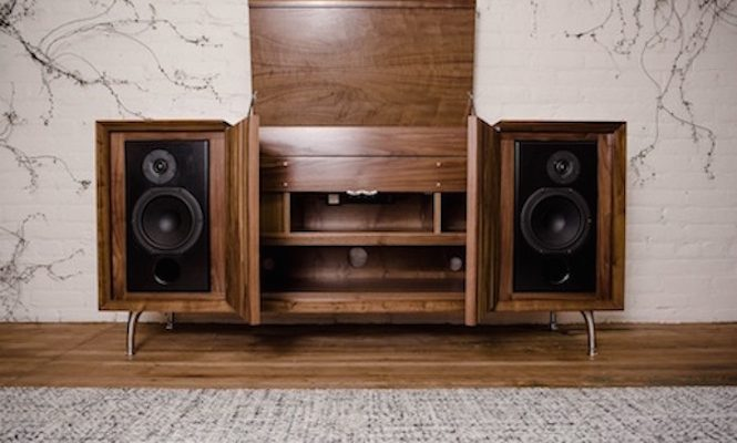 This stunning new record player console boasts Bluetooth technology