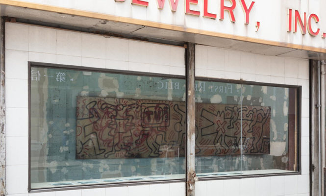 Rescued pieces of Keith Haring's iconic NYC mural displayed in downtown storefront
